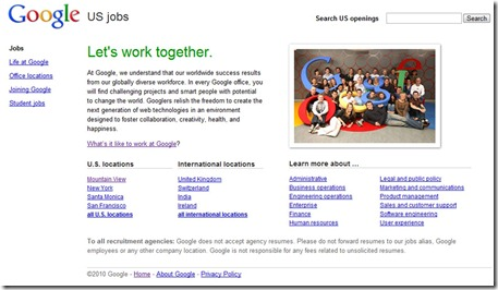 Google jobs USA site
