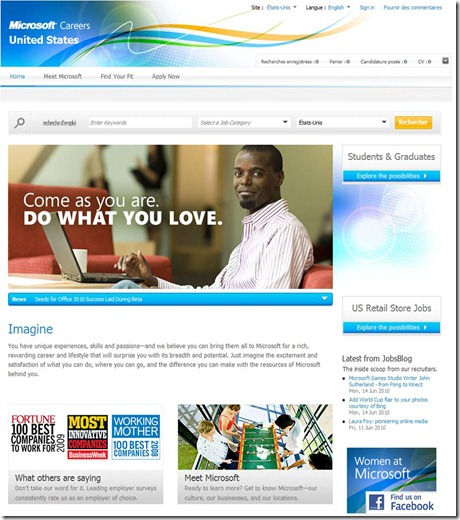 Microsoft USA Career site