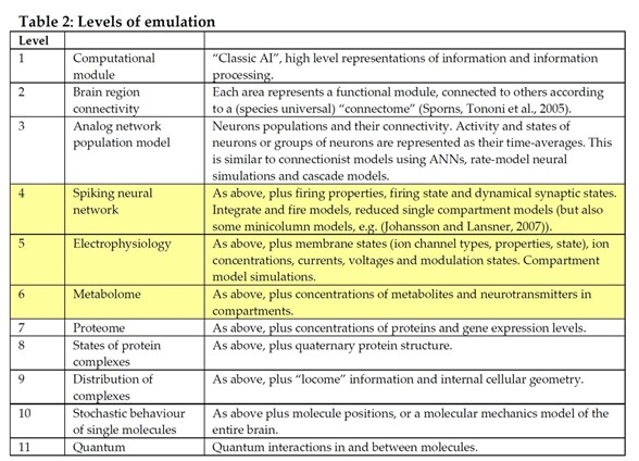 Brain emulation levels