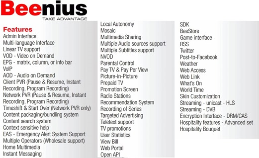 Beenius Features Laundry List