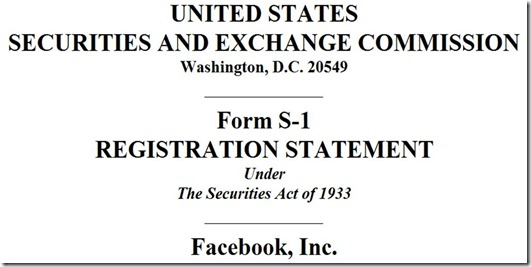 Facebook S-1 Form Cover