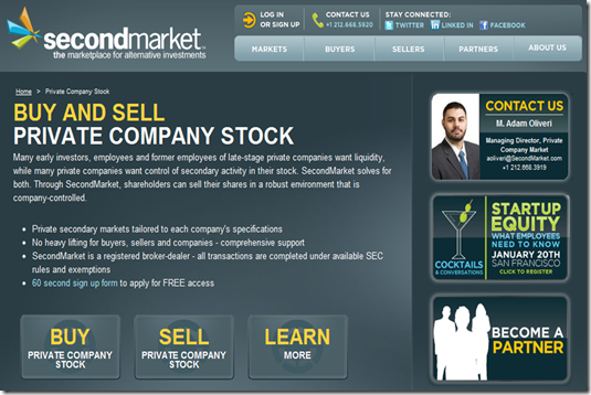 SecondMarket screen buy and sell private company stock