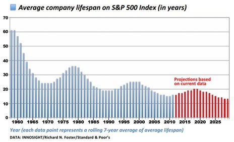 Average Company Lifespan of SP500