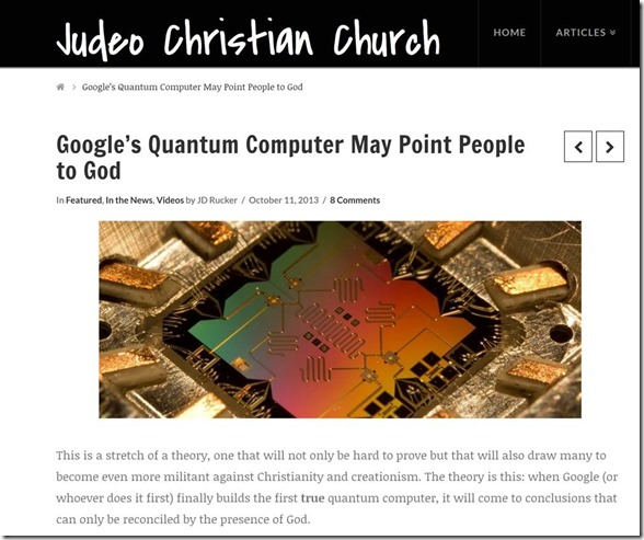 Google Quantum Computer May Point People to God