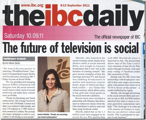 Facebook at IBC 2011 in IBC Daily