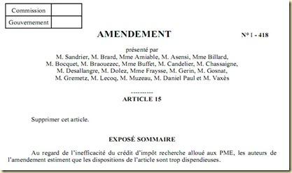 Amendement sur CIR PCF