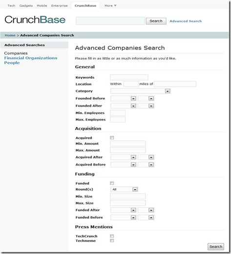 Crunchbase Search Page