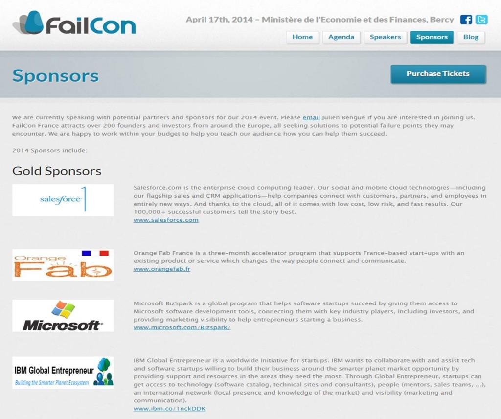 Les gold sponsors de la FailCon Paris d'avril 2014 mettent en évidence le poids des sociétés américaines.