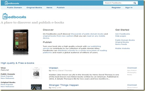 Feedbooks home page
