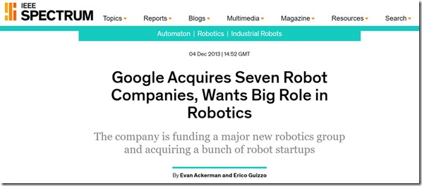 Google and robotic startups