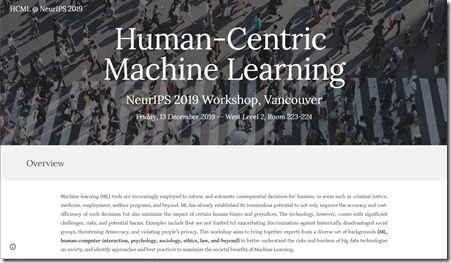 Human Centrric Machine Learning NIPS 2019