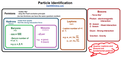 Particle Physics Diagram - Fermions, Baryons, Mesons, Leptons and Bosons.