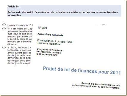 Projet de Loi de Finance 2011 Article 78 JEI