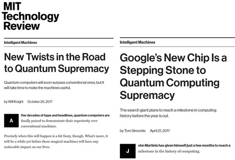 Quantum supremacy in MIT Review