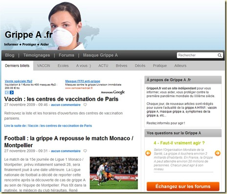 Site web Grippe A fr