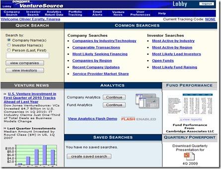 Venture Source Welcome screen