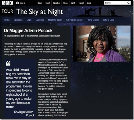 BBC4 Sky at Night Maggie Aderin-Pocock