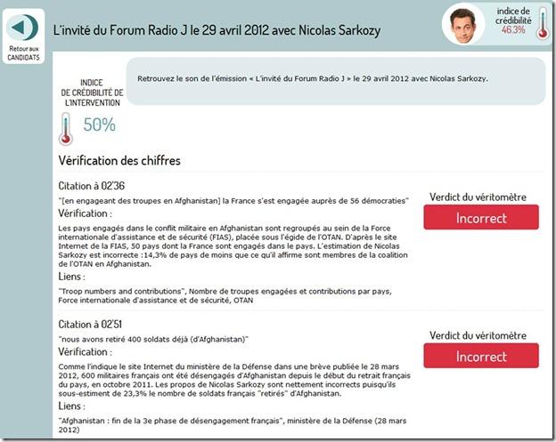 Veritometre Afghanistan France Sarkozy