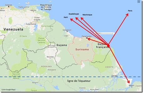 Guyane Pays voisins et liaisons aériennes