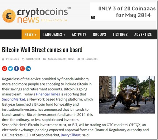 Bitcoin and Wall Street