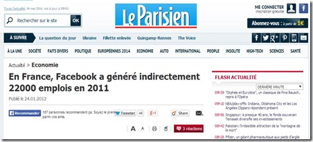 Parisien Facebook 22000 emplois en France