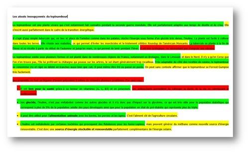 Cahier de fact-checking du topinambour