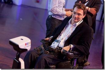 Louis Van Prodijj talking to Jean-Michel Billaut through a Gostai Robot