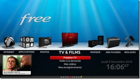 Freebox V6 Menu principal