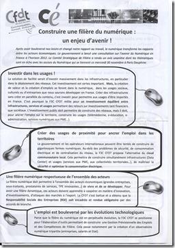 Tract CFDT distribue aux Assises du Numerique 2011 Recto
