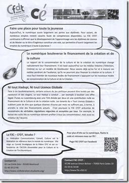 Tract CFDT distribue aux Assises du Numerique 2011 Verso