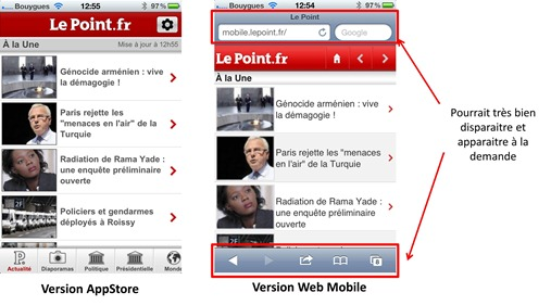 Le Point en web mobile et natif iOS