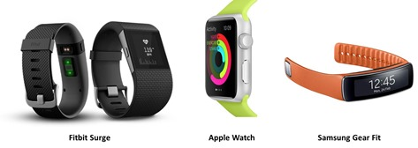 Fitbit Surge Apple Watch et Samsung Gear Fit