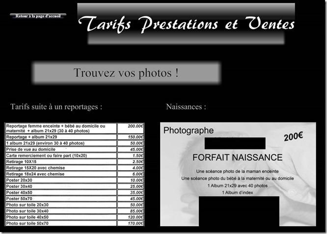Tarifs Photo