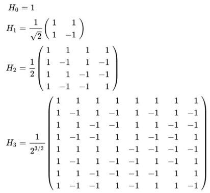 Premieres matrices de Hadamard