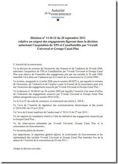 Autorite Concurrence et Respect Engagement Fusion CanalSat et TPS Sept2011