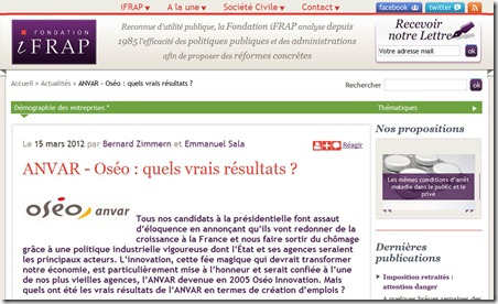 IFRAP et Oseo quels resultats 2012