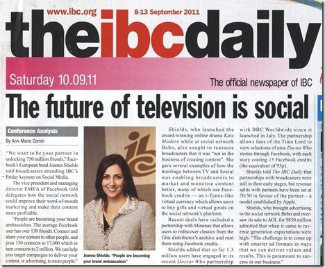 Facebook at IBC 2011 in IBC Daily