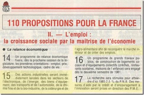 110 propositions Mitterrand et politique industrielle