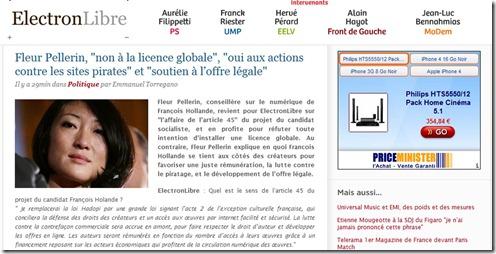 Fleur Pellerin licence globale et HADOPI