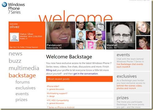Windows Mobile Backstage 1