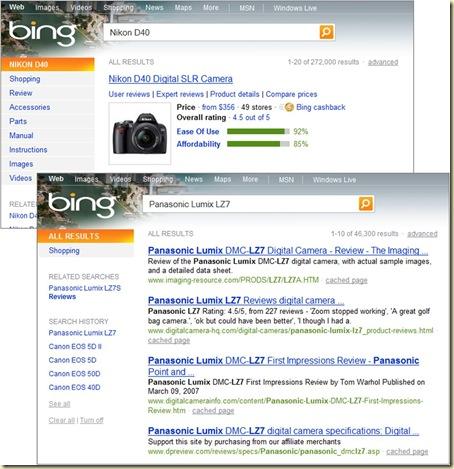 Bing Comparaison Appareils Photos
