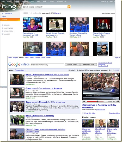 Bing et Google Recherche Videos
