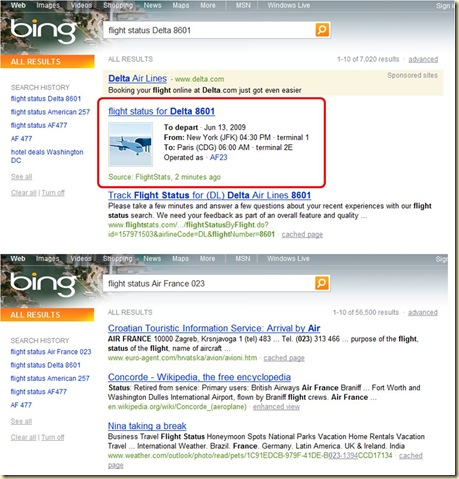 Bing Information Vol Avion