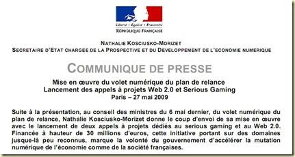 Communiqué NKM Plan de Relance Numérique