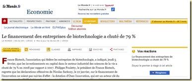 LeMonde Financement Biotech