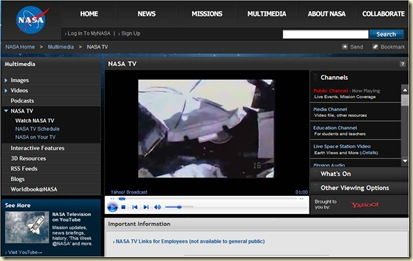NASA Space Station Live TV Feed
